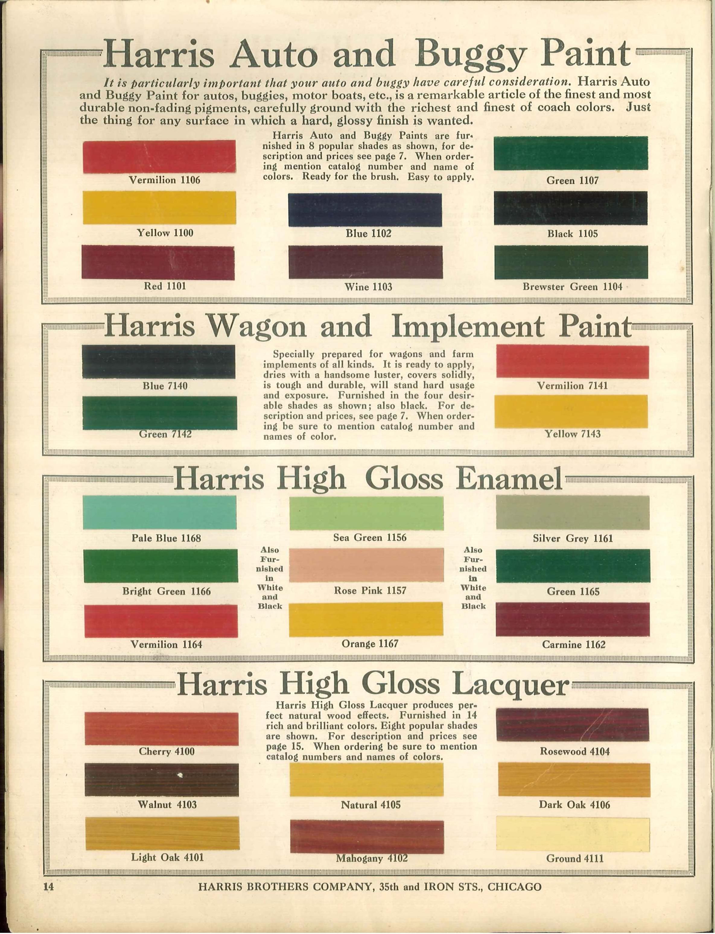 1915 Harris Paint Colours Historic House Colors Pinterest