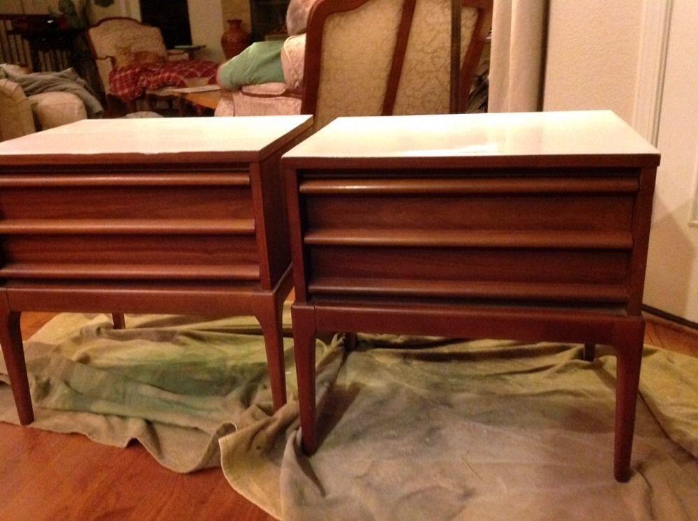 MID CENTURY  Pair LANE End Tables Bedside Danish LookPainted Eames Era (2)