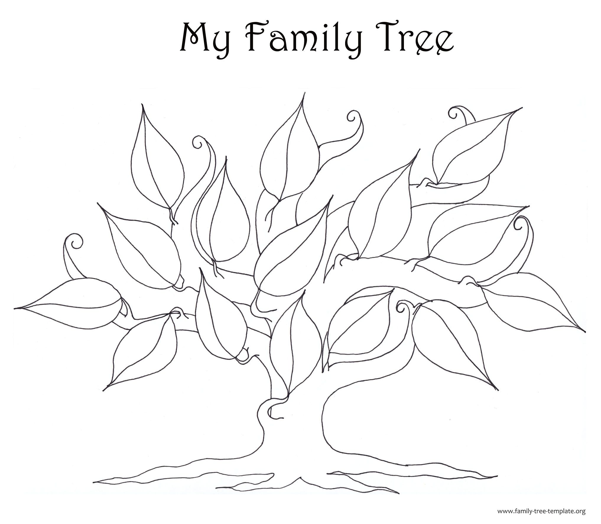 Fun Tree Coloring For Kids Blank Coloring Pages Family Tree