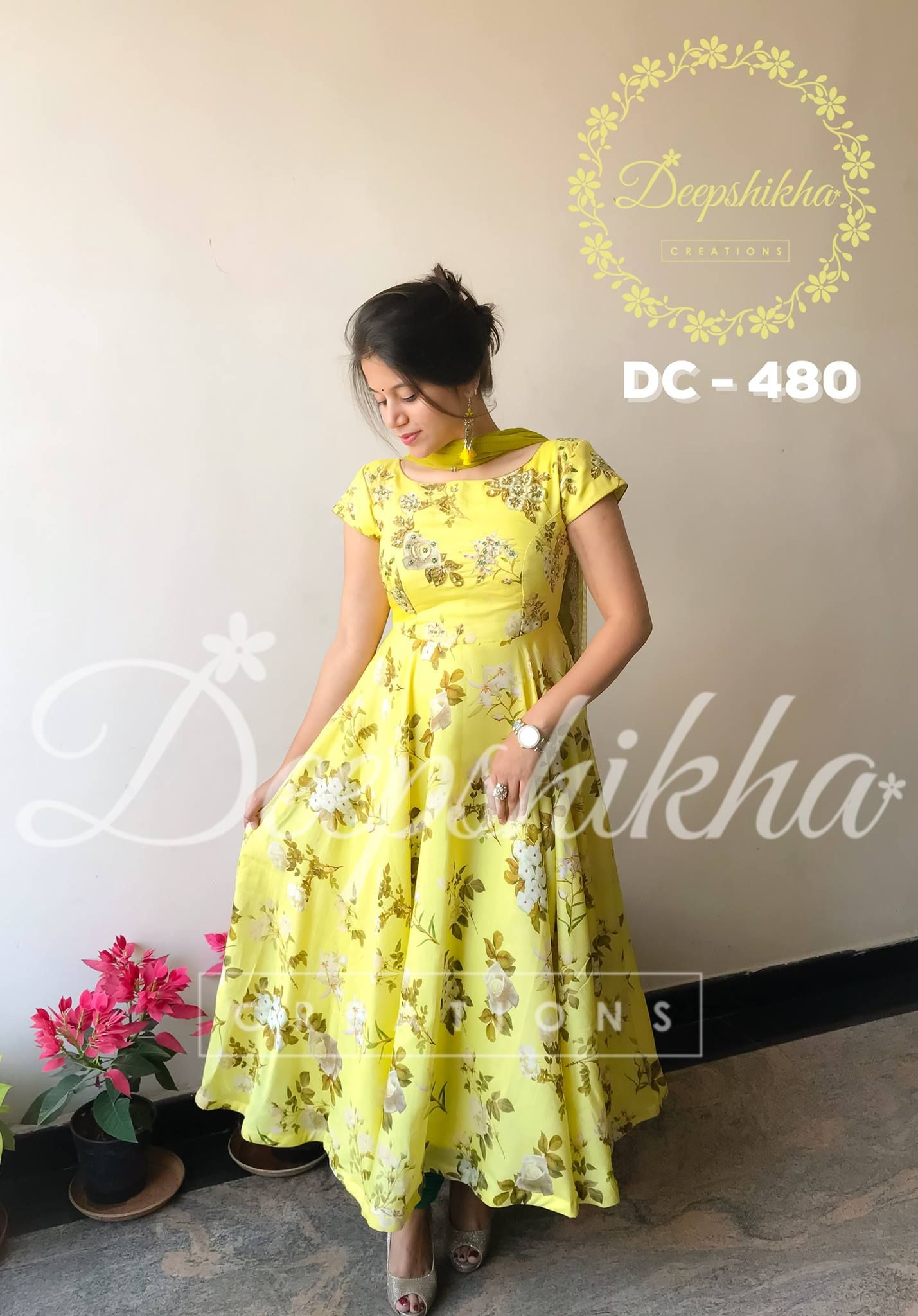 Beautiful Lime Yellow Color Floor Length Dress With Floret Lata Design Print