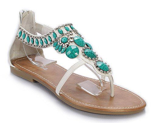Teal Sandals And Flip Flops For Summer  Casual Style -4774