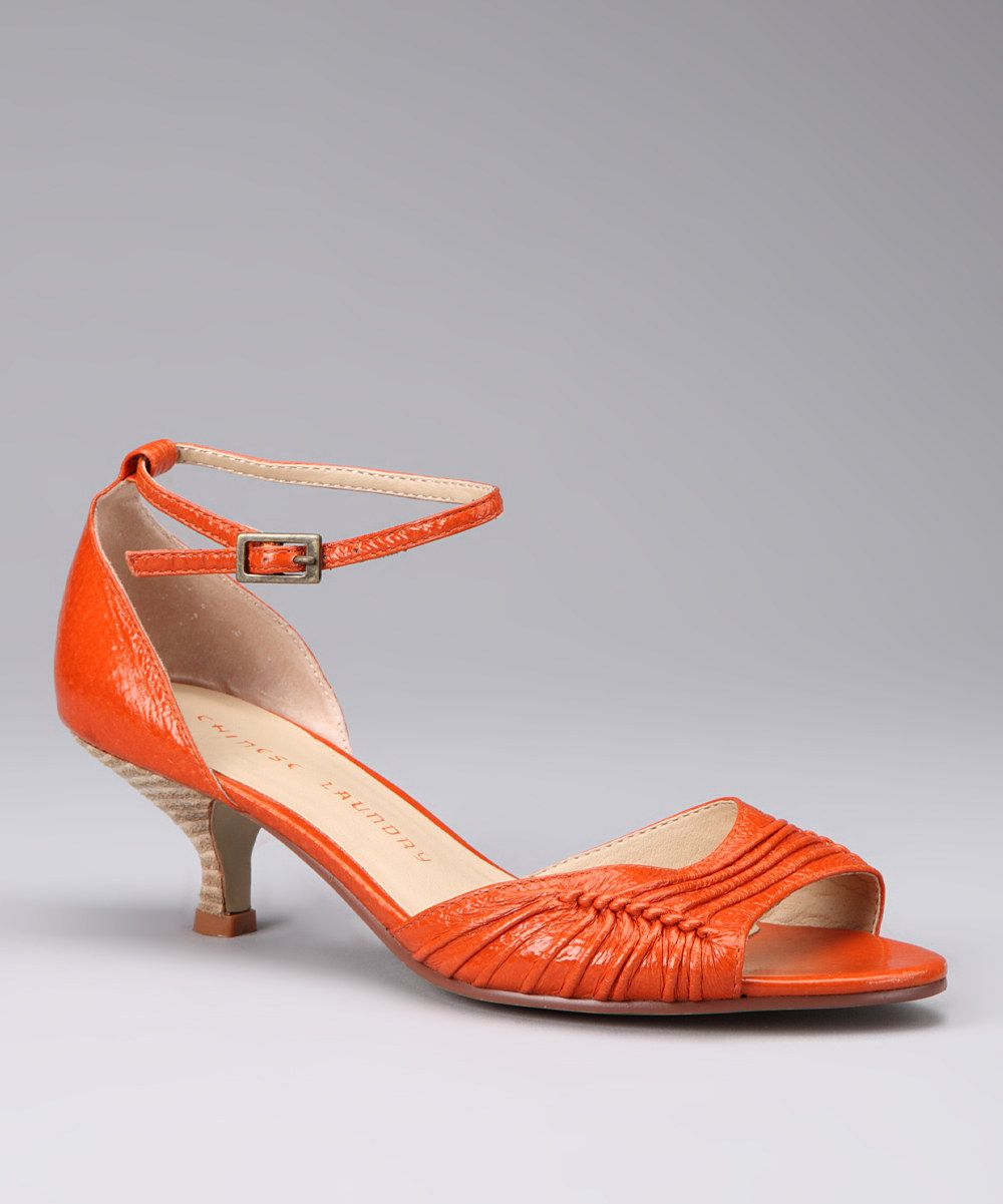 Orange Kitten Heel Sandals