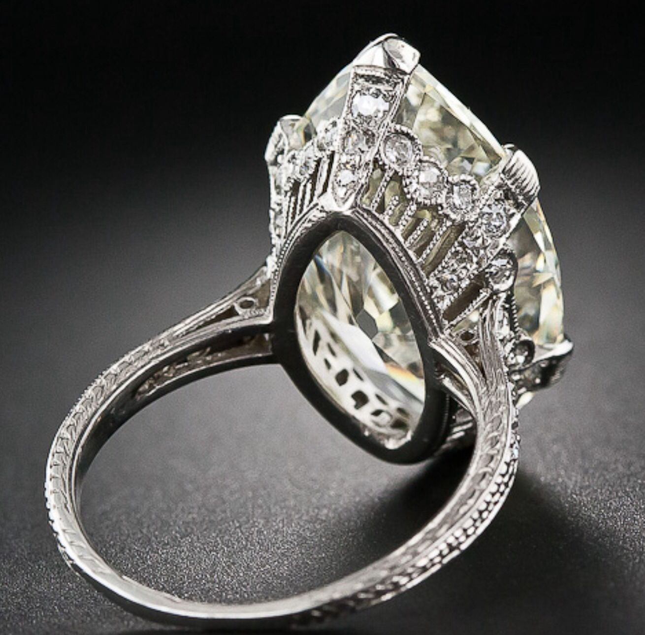 Back View. 9.55 MarquiseOval Diamond Ring Vintage oval