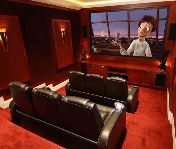 Tips For Home Theater Room Design Ideas: Decorations Amazing Sofa Large Screen With Red Carpet