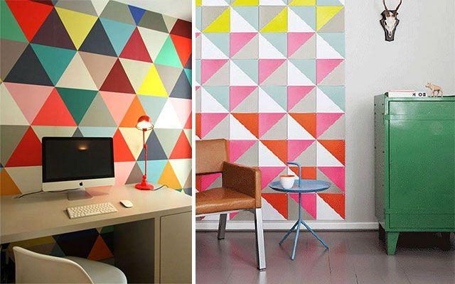 Ideas para pintar paredes con tri ngulos pintades dise o pared pintar y - Diseno de paredes pintadas ...