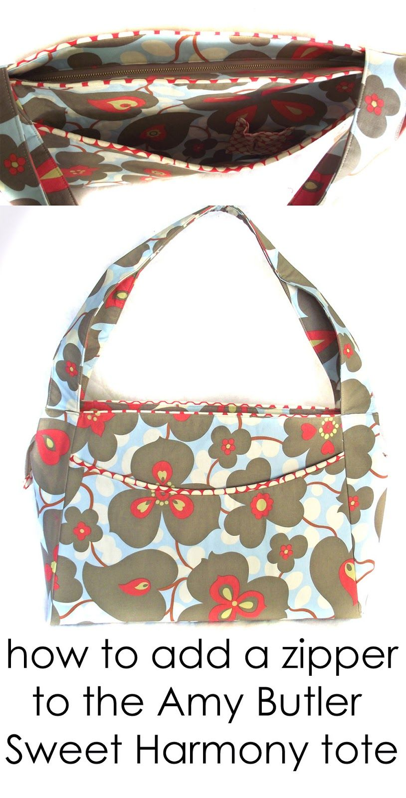 DIY: Add a zipper to the Amy Butler Sweet Harmony tote... recessed ...