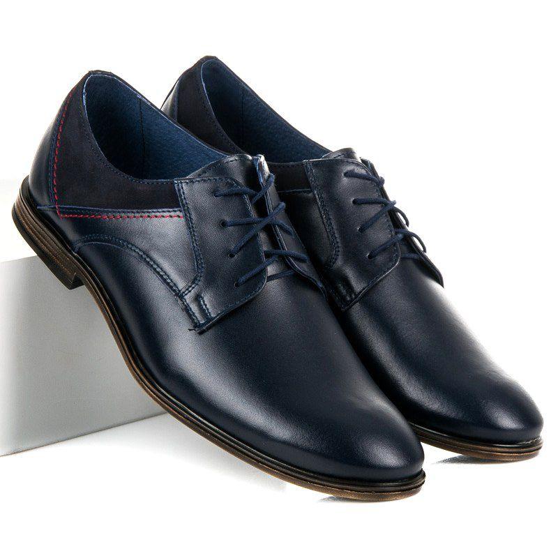 Polbuty Meskie Lucca Niebieskie Wiazane Polbuty Ze Skory Lucca Dress Shoes Men Oxford Shoes Dress Shoes