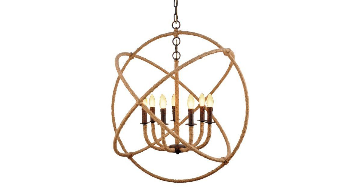 This seven-arm jute-wrapped chandelier is sure to be the focal point of the room. Hardwired.