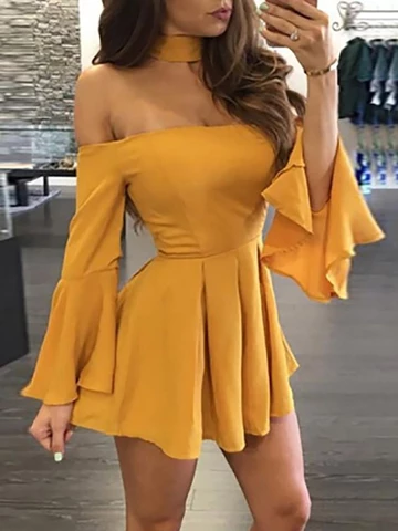 Photo of Off-shoulder Ruffle Sleeve Pleats Short /Mini Sexy Homecoming Dresses, HD128
