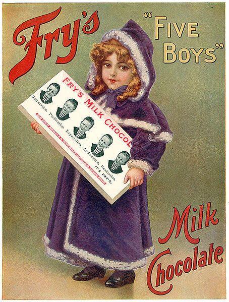 Publicidade de chocolate antiga;