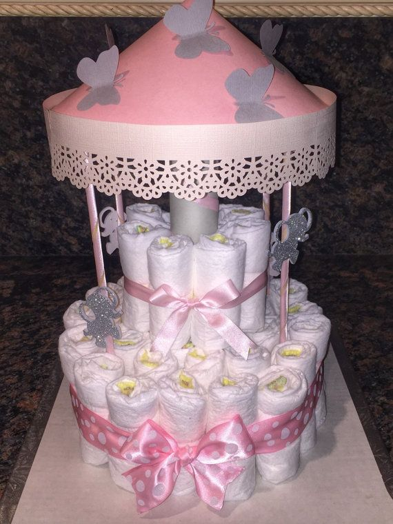 2 Tier Carousel Diaper Cake By Angelasworkofheart On Etsy