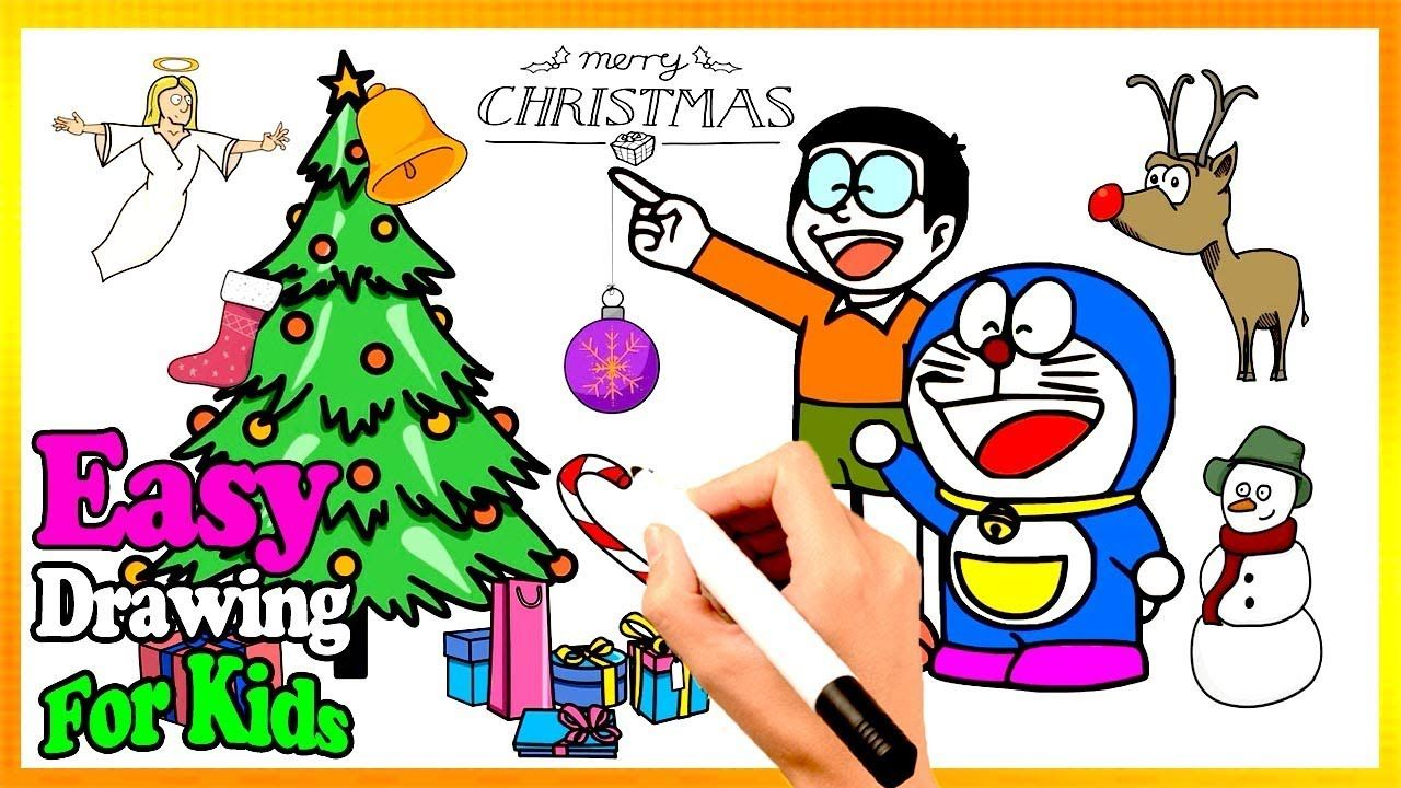 How To Draw Cute Doraemon Nobita Christmas Book Kids Learn Easy Paint Easy Drawings For Kids Drawing For Kids Easy Drawings