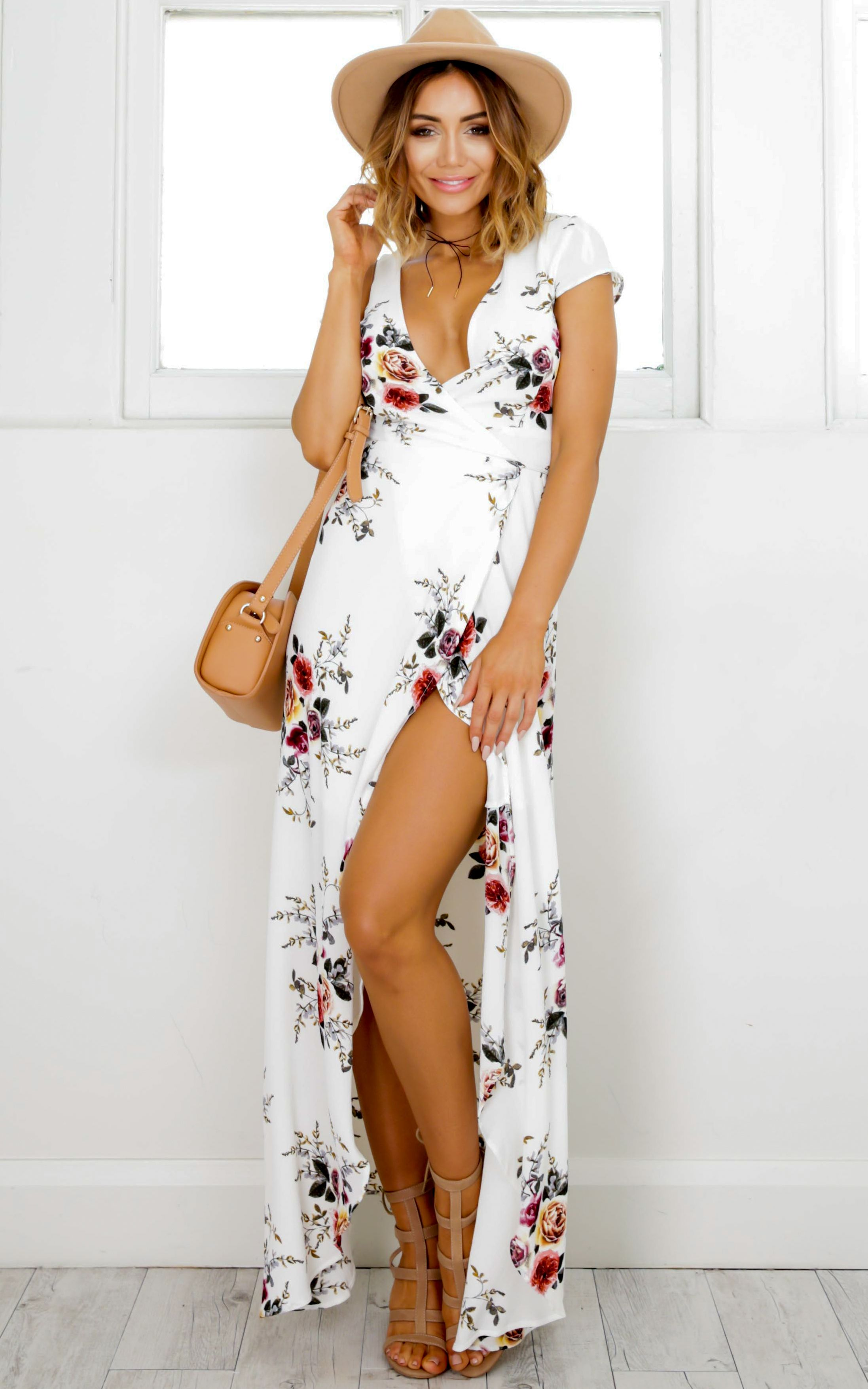 9dc0b1b5230c Wrap And Cross Maxi Dress In White Print Produced