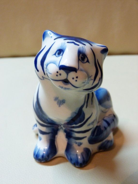 """4""""hBlue and white porcelain Tiger. Cobalt painting on by LanaArkhi"""