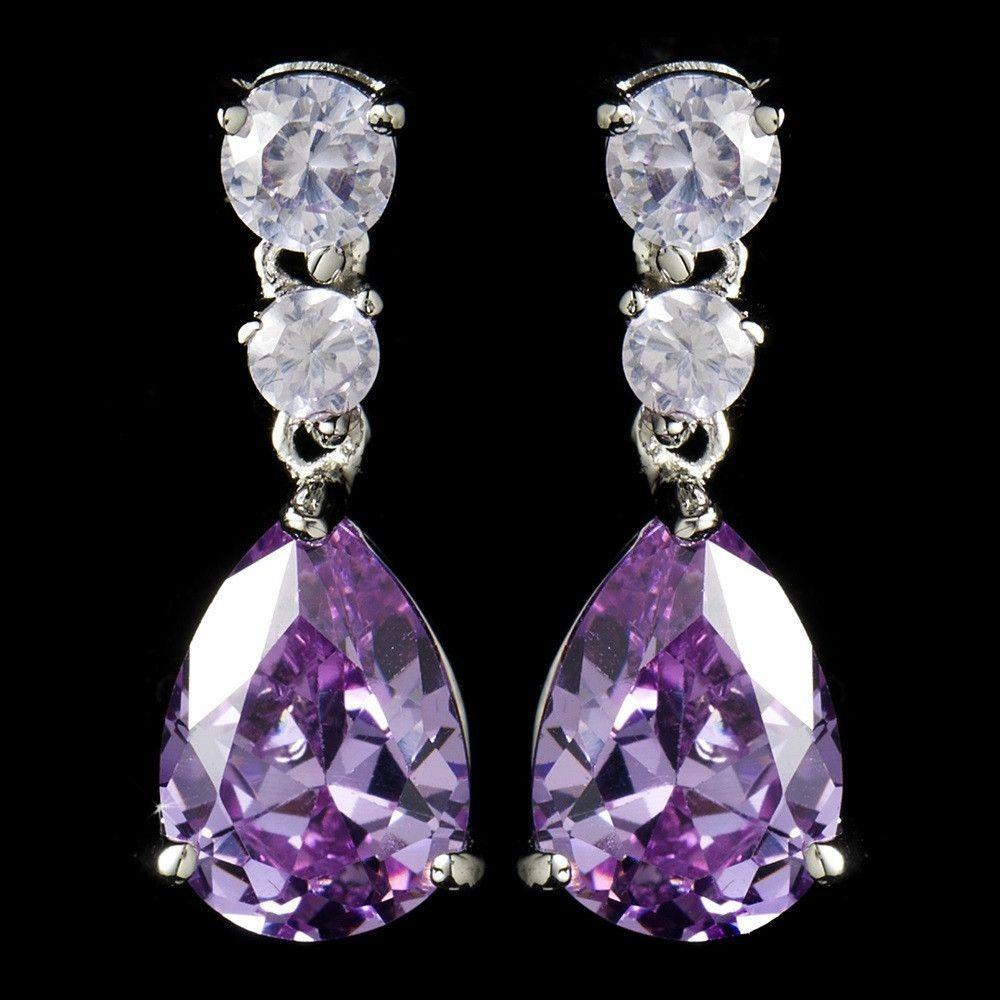 Silver Light Amethyst Cubic Zirconia Earrings E 2845