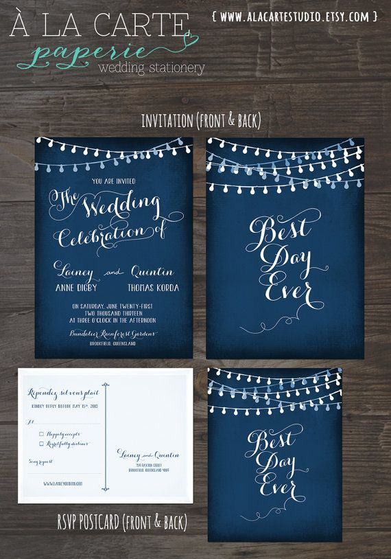 Best String Lights For Weddings : String Light Chalkboard Wedding Invitation Card and RSVP Best Day Ever Navy or Eggplant Colors ...