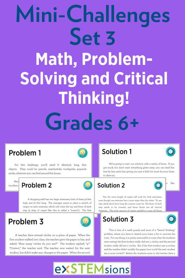 Mini Challenges Set 3 Math Problem Solving And Critical Thinking Critical Thinking Math Problem Solving Critical Thinking Activities