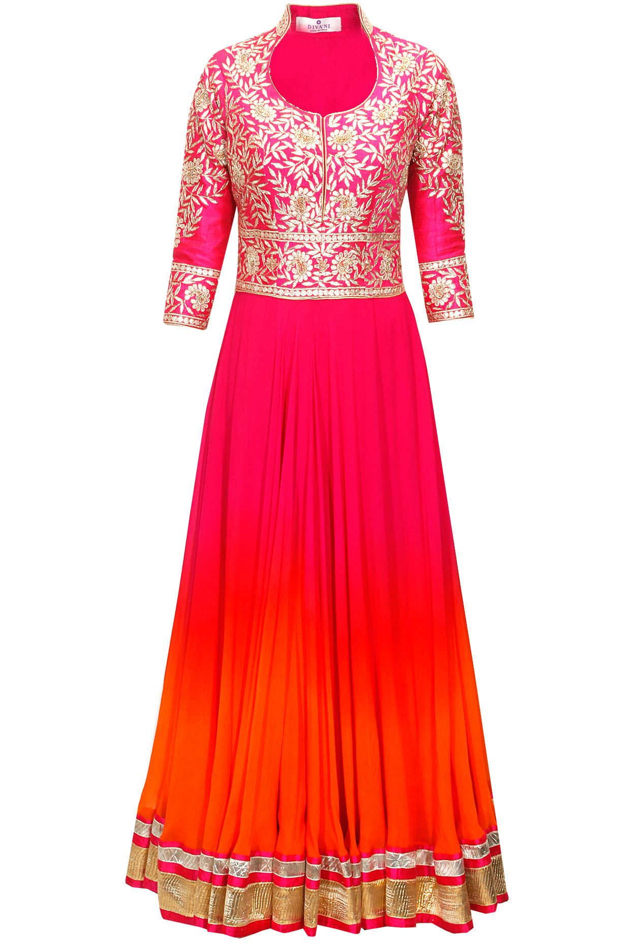 Divani Pink and orange gotta embroidered anarkali set available only ...