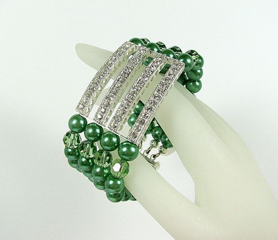 Green pearl bracelet Festive silver crystal bar by ShopPretties, $55.00