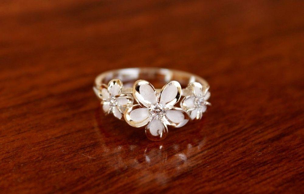 Hawaiian Hawaii 925 Silver Three Plumeria Clear Cz Flower Ring Size 4 9 R35 Silver Flower Ring Silver Jewelry Sterling Silver Jewelry