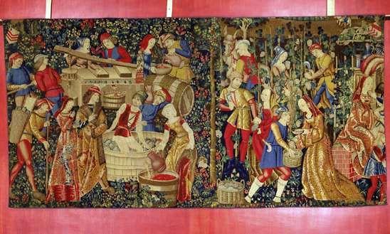 Les Vendanges  Pays-Bas du Sud, début   du XVIe siècle  Laine et soie  H. 2,46 m ; L. 4,95 m  Cl. 21541