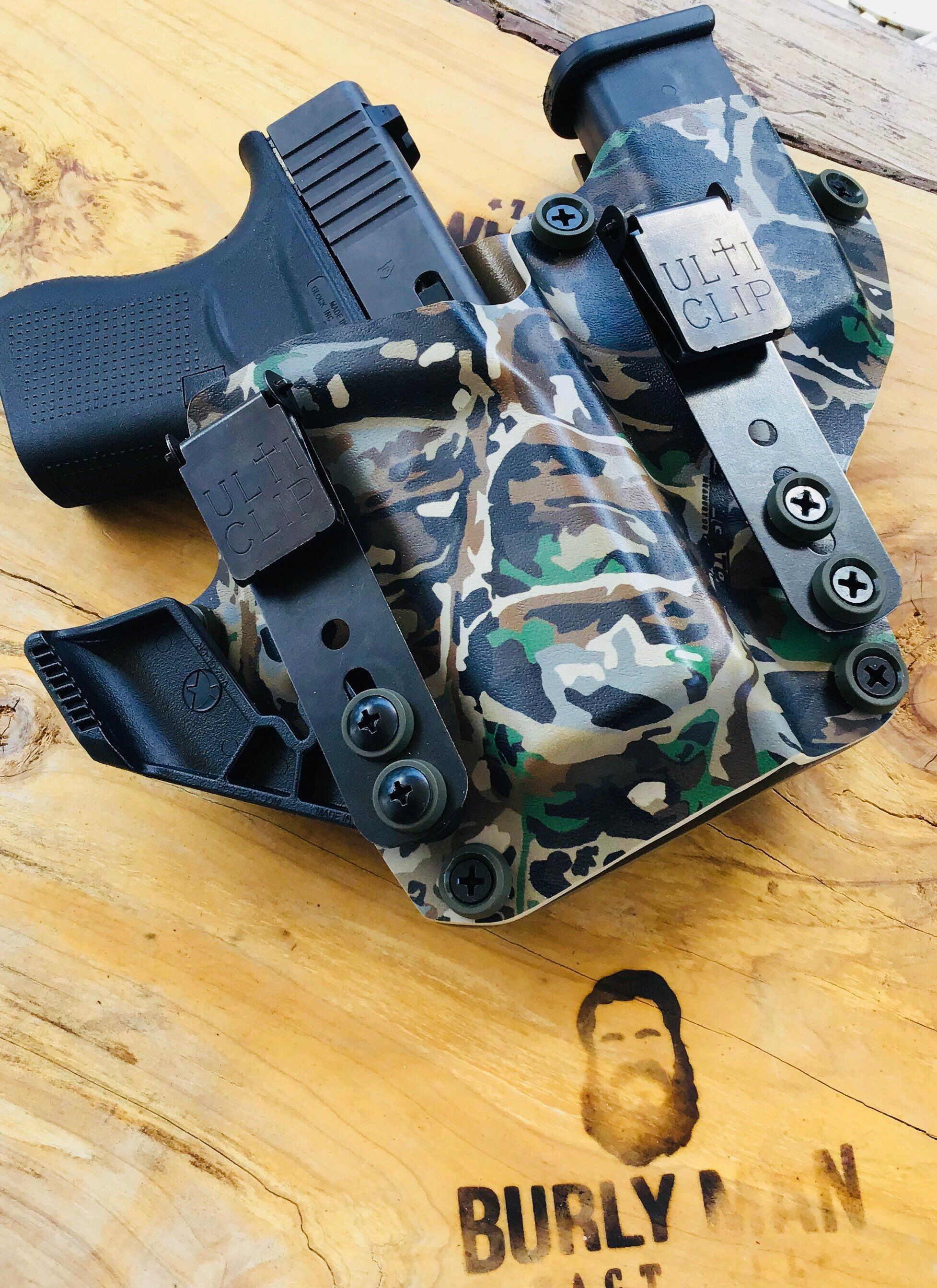 Glock 19 Gen 5 Ulticlip 3 Bull Gator Camo 9mm Kydex Holster