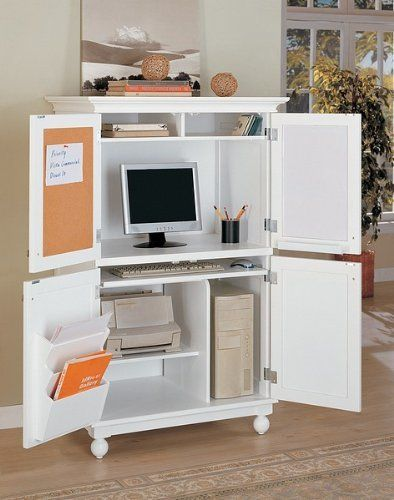 White Finish Louvered Design Computer Armoire Desk Workstation Dimension:  35u2033L 23u2033W