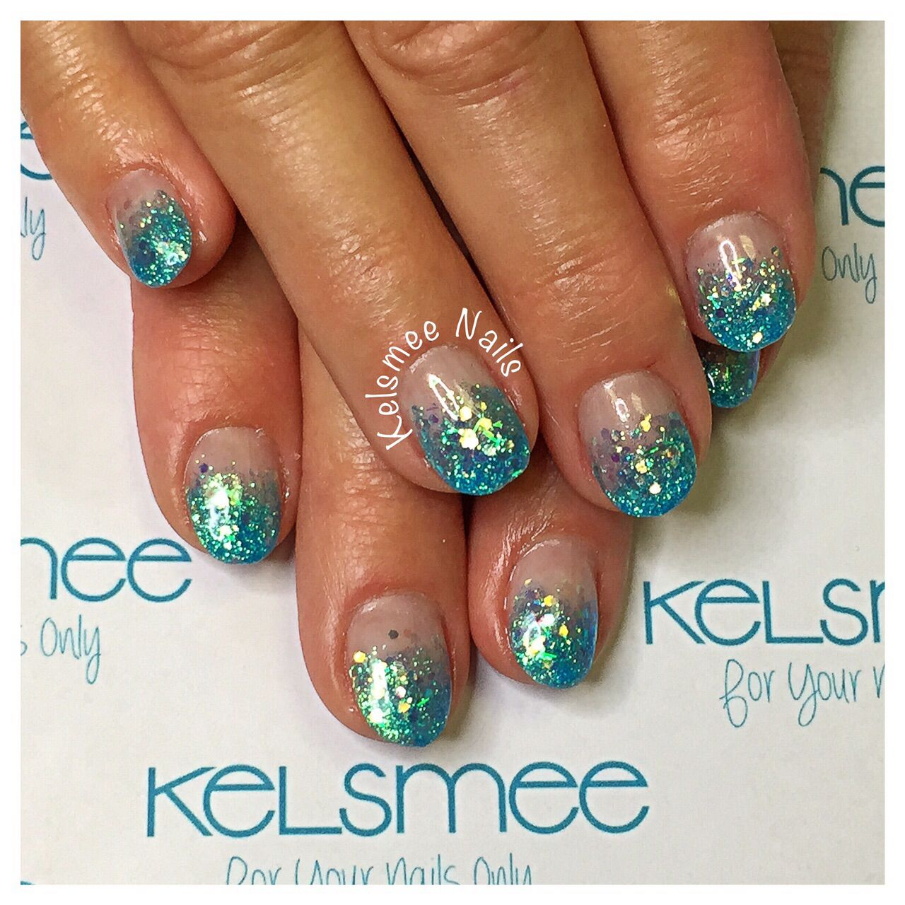 Youngnails glitterfade turquoise acrylic nails   Nails   Pinterest