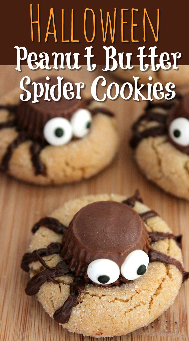 Halloween Peanut Butter Spider Cookies Recipe - Homemade cookie recipe with adorable spider accent! #halloweencookies