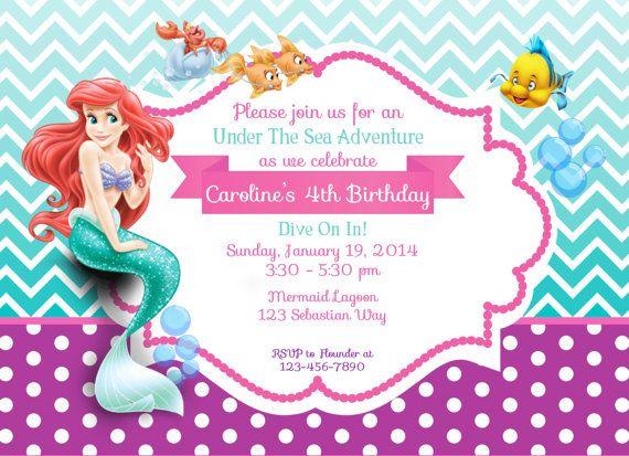 Disney Princess Invite Little Mermaid Ariel By Ckfireboots On Etsy 1000 Theme Birthday
