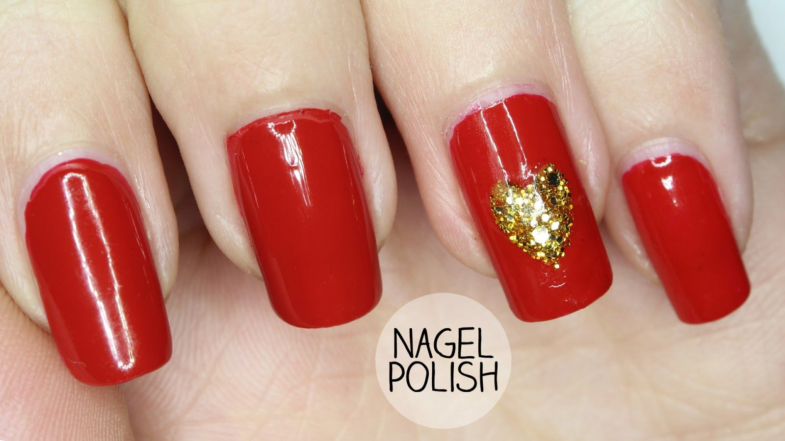 For a last minute Valentines Day Manicure, simple red nails, with a ...