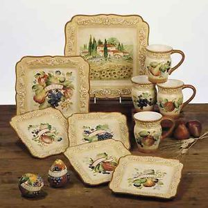 16 Pc. Handpainted Tuscan Dinnerware Set Italia by Pamela Gladding & 16 Pc. Handpainted Tuscan Dinnerware Set Italia by Pamela Gladding ...