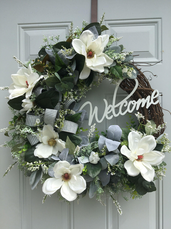 Photo of Farmhouse Magnolia Wreath, Farmhouse Decor, Magnolia Wreath, Eucalyptus Wreath, Lambs Ear Wreath, Welcome Magnolia Wreath, Farmhouse Wreath,