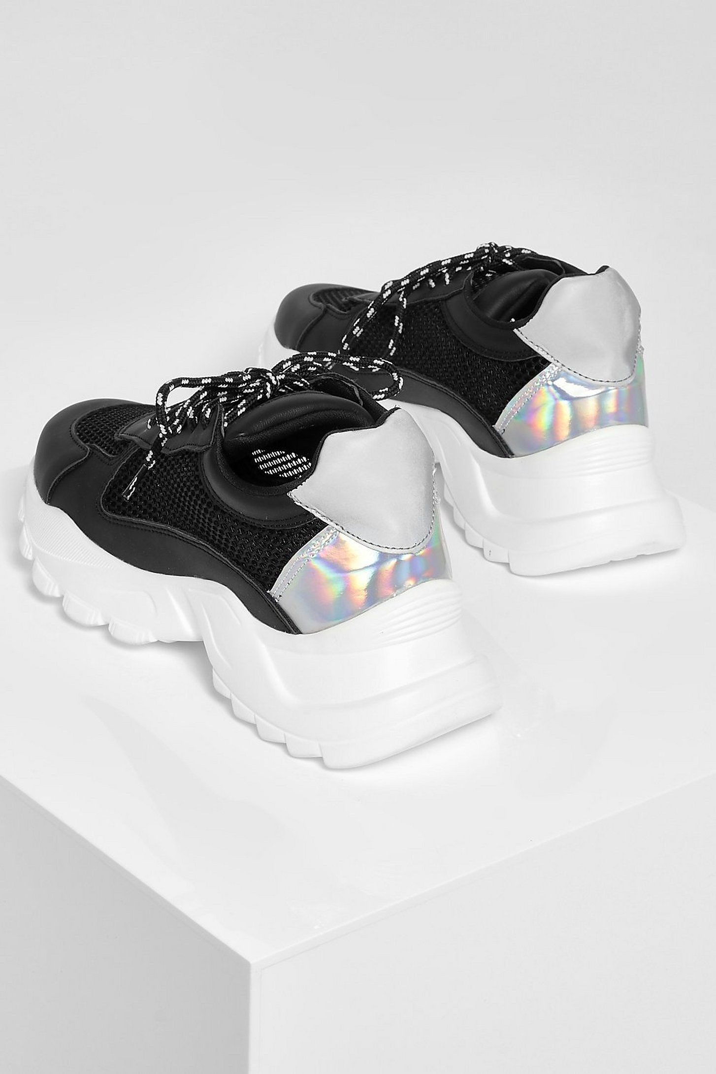 Mesh Panel Chunky Cleated Sole Sneakers