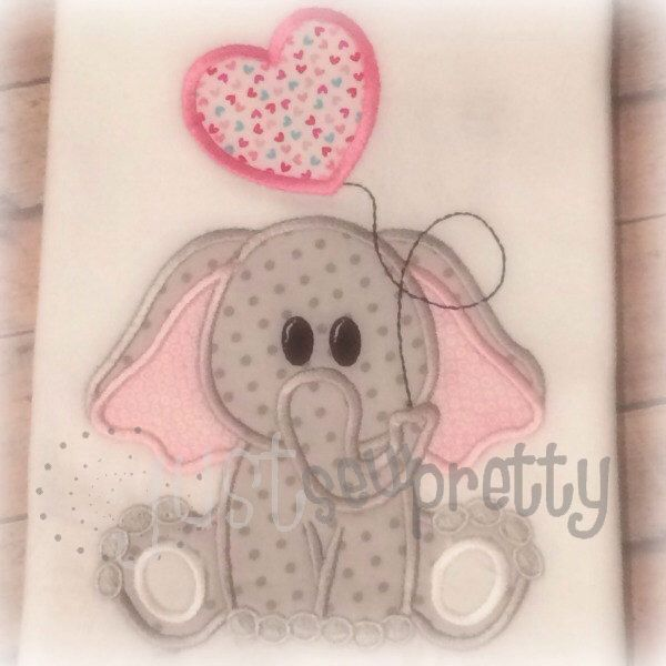 Cute Elephant Balloon Embroidery Applique Design Machine