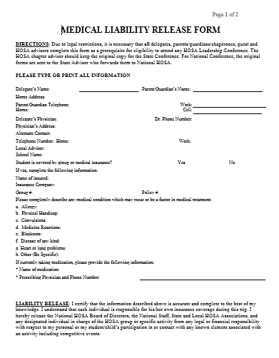 Medical Liability Release Form  Legal