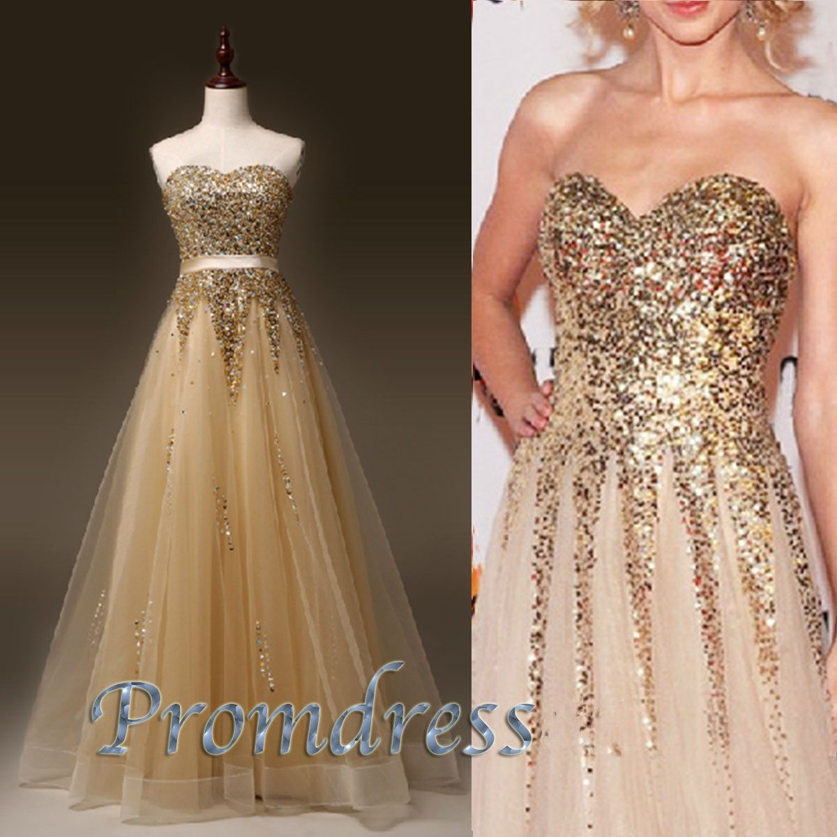 Diyouth golden sequins tulle aline long prom dress evening gown