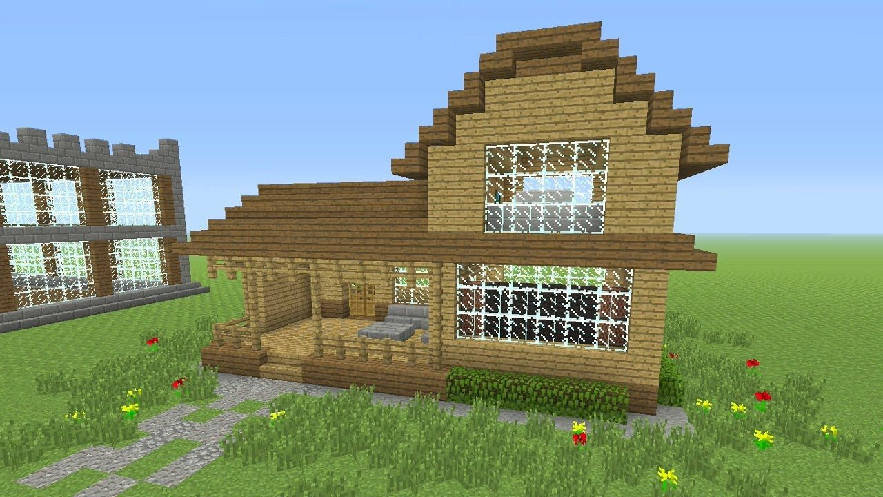 Minecraft Tutorial How To Make An Awesome Wooden Survival House 4 Ash 26 Minecraft Starter House Minecraft House Designs Easy Minecraft Houses