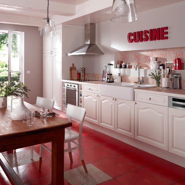 Carrelage sol et mur rouge 45 x 45 cm Antico - CASTORAMA Cuisine - carrelage mur cuisine moderne
