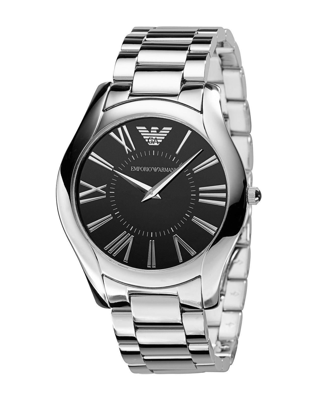 Emporio Armani Watch Mens Stainless Steel Bracelet Ar2022 Casio Edifice Efr 547l 7avudf Jam Tangan Pria Genuine Leather Brown Watches Jewelry Macys