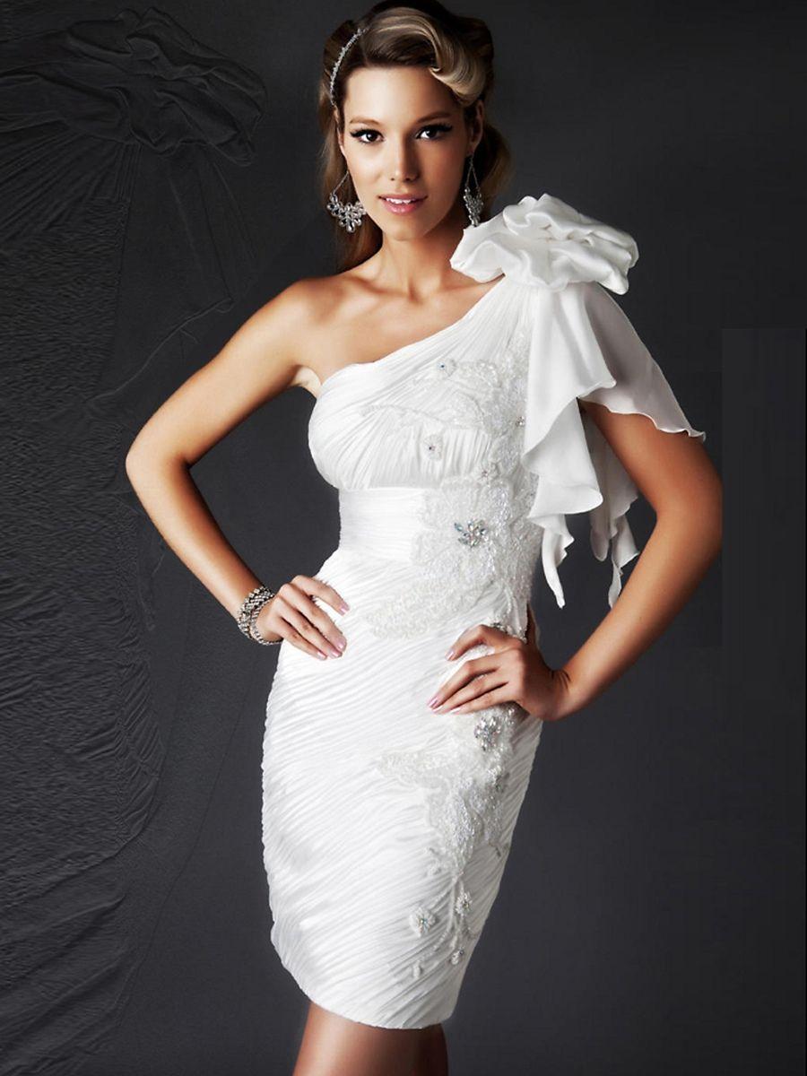 Neck sheath short length white rhinestone embellished chiffon dress