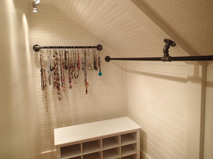 Galvanized Pipe For The Jewelry Holder Used With The Left Over Pipe From  The Closet Rod! Less Expensive And More Durable