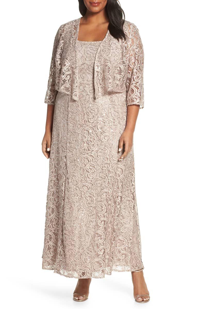 Alex Evenings Lace Sequin Jacket Dress Plus Size Nordstrom Fashion Clothes Women Jacket Dress Trending Dresses [ 1196 x 780 Pixel ]