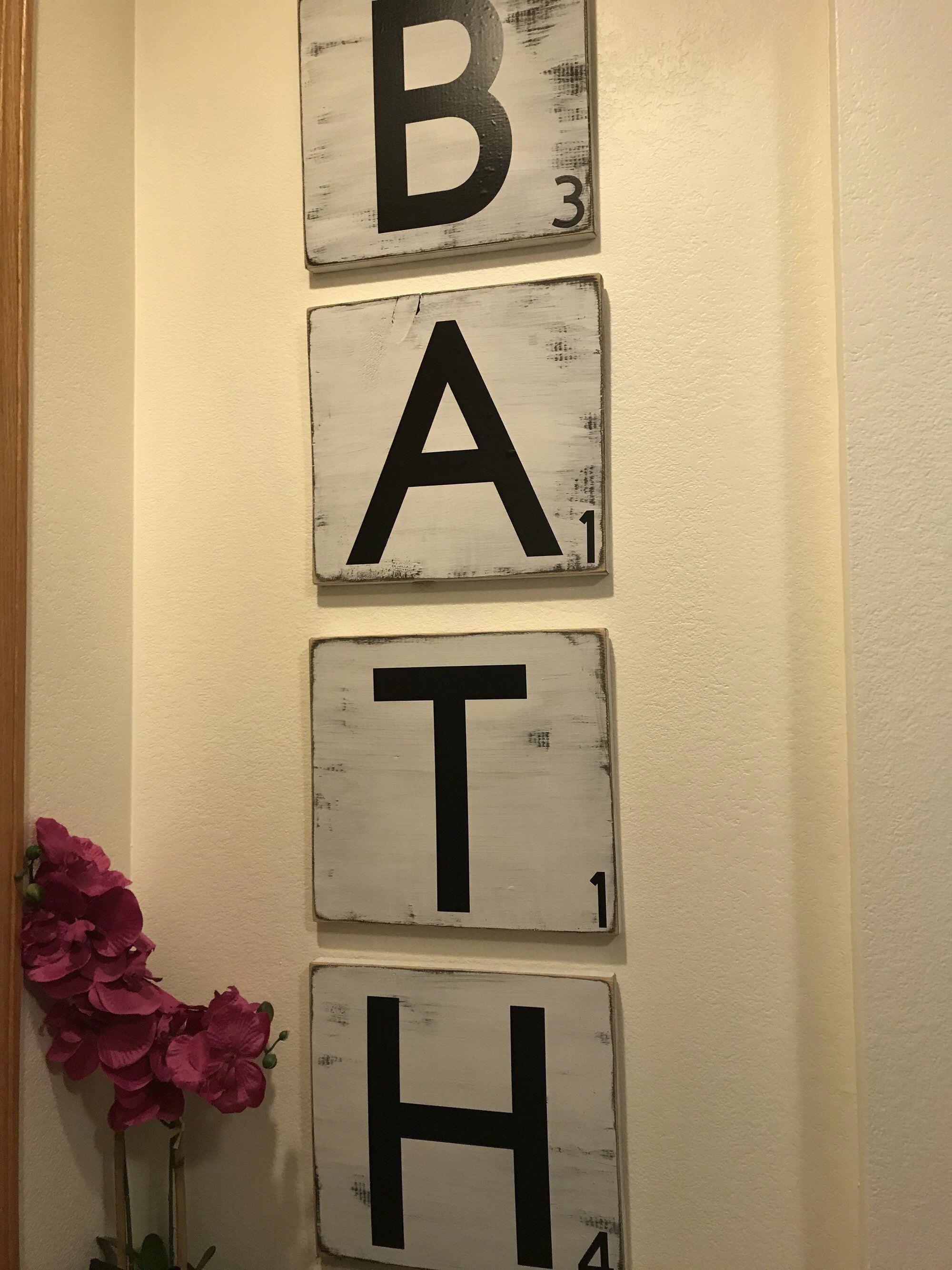 Large bath sign, 48 inch sign, large bathroom sign, bathroom wall decor, potty sign, restroom sign, farmhouse bathroom sign, large scrabble