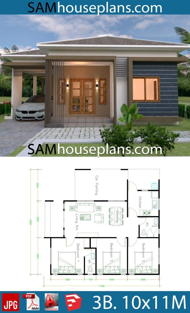 House Plans 10x11 With 3 Bedrooms Roof Tiles Sam House Plans Unique House Plans Affordable House Plans Small House Plans