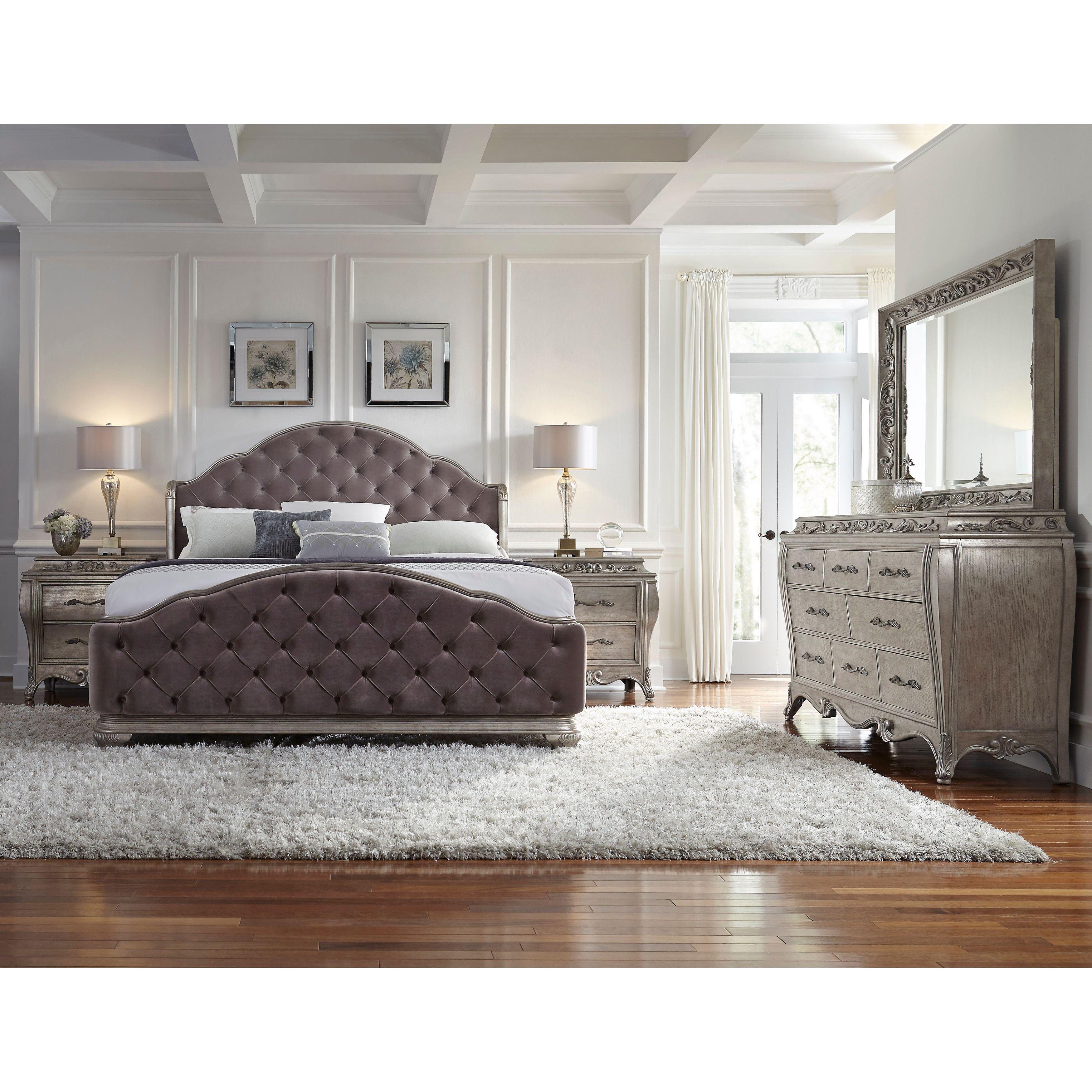 Anastasia 5 Piece King Size Bedroom Set Bedroom Set Grey Size