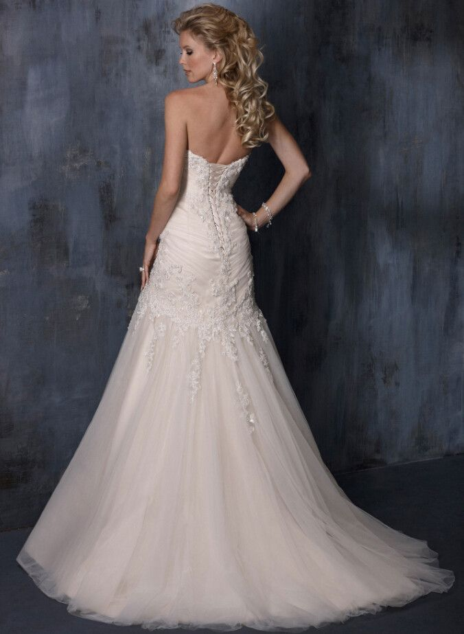 Beaded Lace Strapless Mermaid Wedding Dress