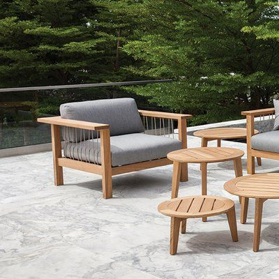 Oasiq Maro Teak Patio Chair With Cushions Wayfair Lounge Chair Outdoor Contemporary Outdoor Lounge Chairs Patio Chairs