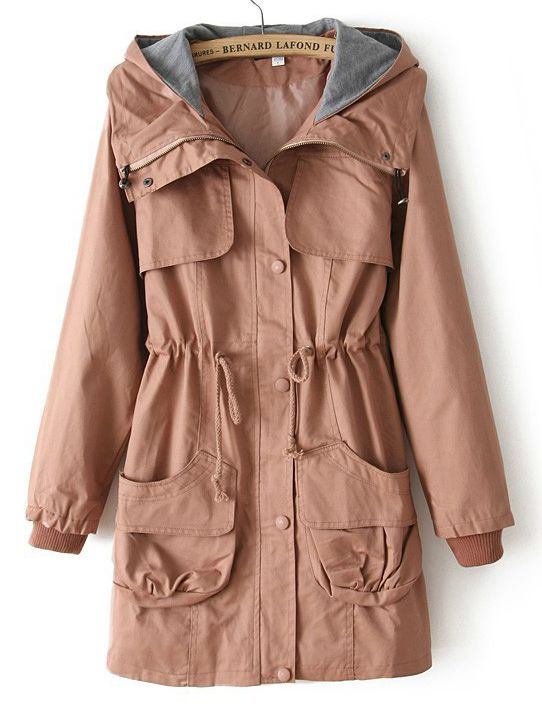 Pink Hooded Long Sleeve Drawstring Pockets Coat - Sheinside.com