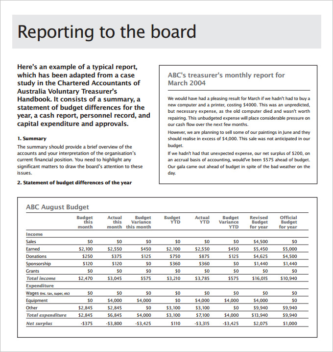 Health And Safety Board Report Template 2 Professional Templates